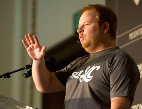 Rick Egan     The Salt Lake Tribune Zenefits CEO Parker Conrad speaks at the StartSLC event for start-up companies at the Union Pacific depot on Friday.