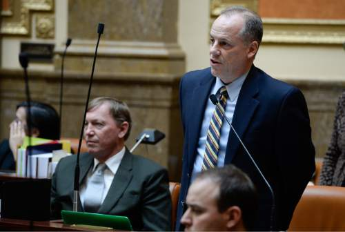 Francisco Kjolseth  |  The Salt Lake Tribune  Rep. Brian Greene, R-Pleasant Grove, speaks during the legislative session on the House floor on Friday, Jan. 30, 2015.