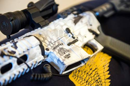 Chris Detrick  |  The Salt Lake Tribune The 5th commemorative Legislative gun, an AR-15 5.56, photographed in Rep. Curtis Oda's (R-Clearfield) office at the Utah State Capitol Tuesday February 3, 2015.
