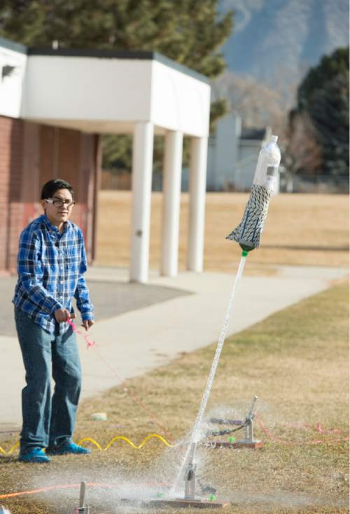 Rick Egan  |  The Salt Lake Tribune  Sergio Varios launches a rocket during his eighth-grade science class at Lakeridge Jr. High, Thursday, February 5, 2015