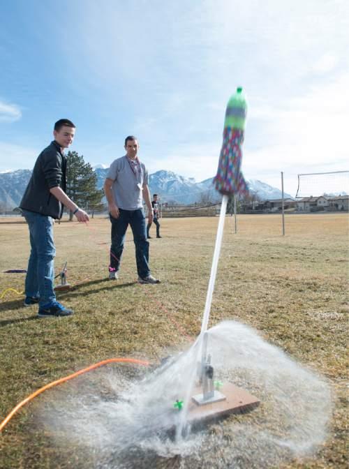 Rick Egan  |  The Salt Lake Tribune  Adam Hunsaker launches a rocket during his eighth-grade science class at Lakeridge Jr. High, Thursday, February 5, 2015