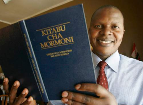 On  Friday, May 23 2008,  Amram Musungu , a native of Kenya and a convert to the LDS Church, holds a Book of Mormon translated into Swahili. Amram is one of two blacks to sing in the Mormon Tabernacle Choir. Paul Fraughton /The Salt Lake Tribune 2008