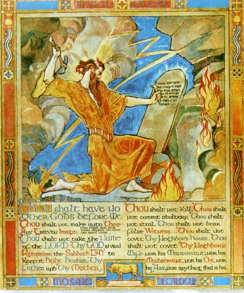 """A mural by Violet Oakley entitled """"The Decalogue - Hebrew Idea of Revealed Law"""" that shows the text of the Ten Commandments is seen on the upper left corner of a page from a brochure titled """"The Supreme Court of Pennsylvania,"""" that is currently being circulated by the court in Harrisburg, Pa. This mural is located in the Supreme Court's Capitol Building courtroom in Harrisburg, Pa.This mural appears in a photograph of Pennsylvania Supreme Court Justices on a different page of the same brochure where the text of the Ten Commandments in mural were altered and made illegible. (AP Photo/ho)"""