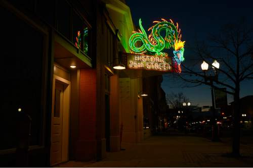 Leah Hogsten  |  The Salt Lake Tribune The neon dragon sign that hung at the Star Noodle restaurant in Ogden for decades has been refurbished and was re-hung on Friday. The former Star Noodle dragon sign stood watch over 25th Street in Ogden for more than five decades. In 2008, the sign was taken down so it could be renovated. The sign is the original design built by YESCO in the 1950s with 250 feet of neon and 58 smaller lights. YESCO was contracted to refurbish the sign and the entire structure was completely sanded down to the original structure.
