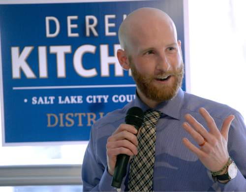 "Al Hartmann  |  The Salt Lake Tribune Derek Kitchen announces his candidacy for Salt Lake City's District 4 Council Seat Tuesday Feb. 10, 2015, at Caputo's Market and Deli across from Pioneer Park. In 2013, Kitchen and his partner, Moudi Sbeity, along with two other gay couples, won their case (Kitchen v. Herbert) in federal court overturning Utah's same-sex marriage ban. It made Utah the 18th state to permit same-sex couples to legally marry. Kitchen is a South Jordan native and the owner and operator of a small business in Salt Lake City. He launched Laziz Foods in 2012. As a resident and business owner, Kitchen said he has a ""unique and valuable"" understanding of the area."