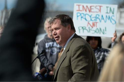 Francisco Kjolseth  |  The Salt Lake Tribune  Rep. Eric Hutchings, R-Kearns, expresses plans for a bill  to be revealed soon that addresses criminal justice reform, during a rally on the Utah Capitol steps on Monday, Feb. 10, 2015.