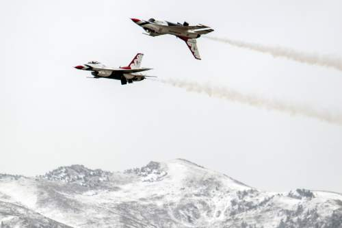 Chris Detrick  |  The Salt Lake Tribune The U.S. Air Force Air Demonstration Squadron, the Thunderbirds, perform precision aerial maneuvers during the Warriors Over The Wasatch air show at Hill Air Force Base Saturday May 26, 2012.