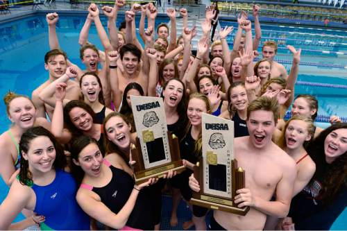 Scott Sommerdorf   |  The Salt Lake Tribune Park City's Women's and Men's teams celebrate their team wins at the 3A Utah State Swimming Championships, Saturday, February 14, 2015.