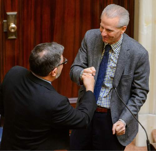 Trent Nelson  |  The Salt Lake Tribune Constandinos Himonas gets a fist bump from Senate President  Wayne Niederhauser, following his confirmation by the Senate during the legislative session at the State Captiol Building in Salt Lake City, Friday February 13, 2015.