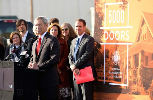 """Leah Hogsten     The Salt Lake Tribune Mayor Ralph Becker unveiled a new affordable housing program called """"5000 Doors, Thursday, January 29, 2015. 5000Doors is a comprehensive, five-year housing initiative designed to address Salt Lake CityÌs lack of housing options affordable to low-wage workers and moderate income families, persons with disabilities and those on fixed incomes. The initiative will support Salt Lake City residents with a range of incomes, from very low-income residents to the middle class."""