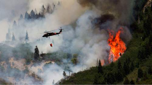 Francisco Kjolseth  |  The Salt Lake Tribune Air crews continue to battle the blaze above Alpine on Wednesday, July 4, 2012, with multiple helicopters targeting hot spots along the steep mountain sides. The wildfire which started Tuesday afternoon in Lambert Park continued its move South and up the slopes, however some evacuated neighborhoods had been allowed to return.