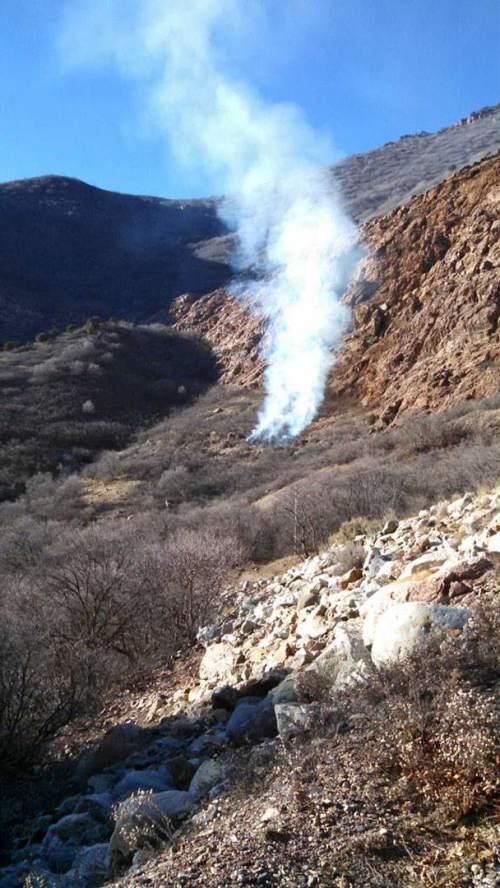 Courtesy  |  Unified Fire Authority.  A wildfire burned Sunday near 4545 East Big Cottonwood Canyon.