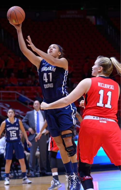 Leah Hogsten  |  The Salt Lake Tribune Brigham Young Cougars forward Morgan Bailey (41) for two. The University of Utah lost to  Brigham Young University 60-56, Saturday, December 13, 2014 at the Jon M. Huntsman Center.