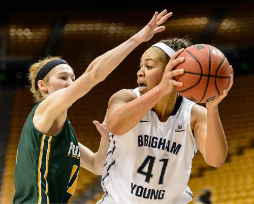 Trent Nelson  |  The Salt Lake Tribune Brigham Young Cougars forward Morgan Bailey (41) defended by San Francisco Lady Dons guard Rachel Howard (11) as BYU hosts San Francisco, NCAA women's basketball at the Marriott Center in Provo, Saturday January 3, 2015.