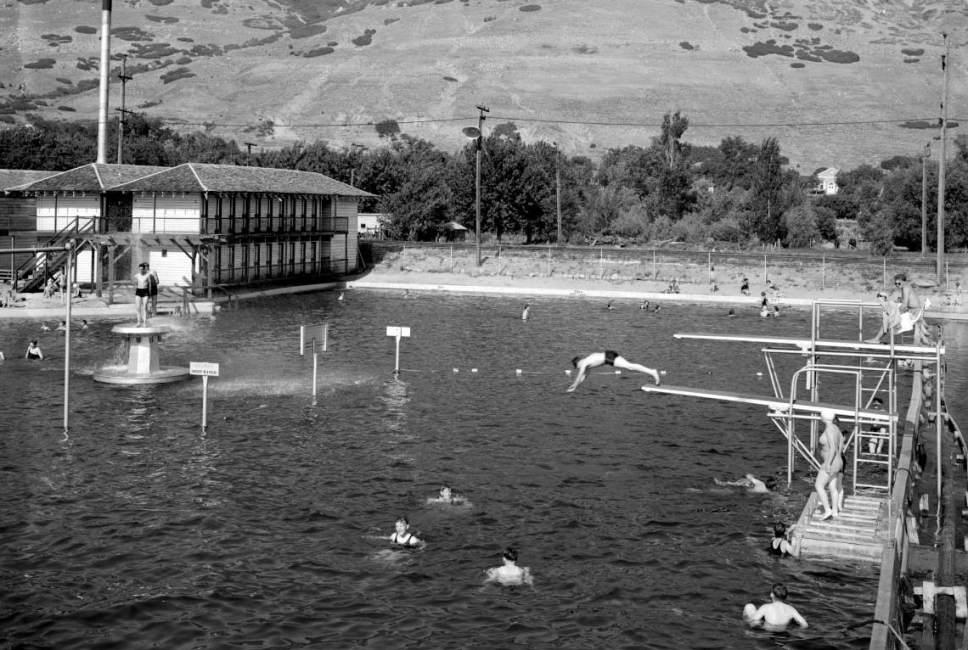 Courtesy  |  Utah State Historical Society  Swimming and recreation at Lagoon Amusement Park in Farmington. June 17, 1937.