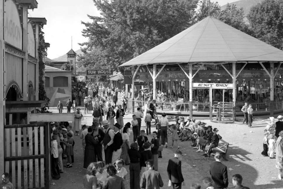 Courtesy  |  Utah State Historical Society  Crowds at Lagoon Amusement Park in Farmington. June 17, 1937.
