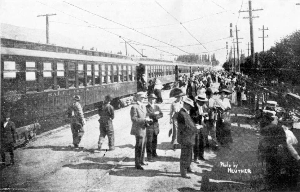 Courtesy  |  Utah State Historical Society  The Bamberger train at Lagoon in 1912.