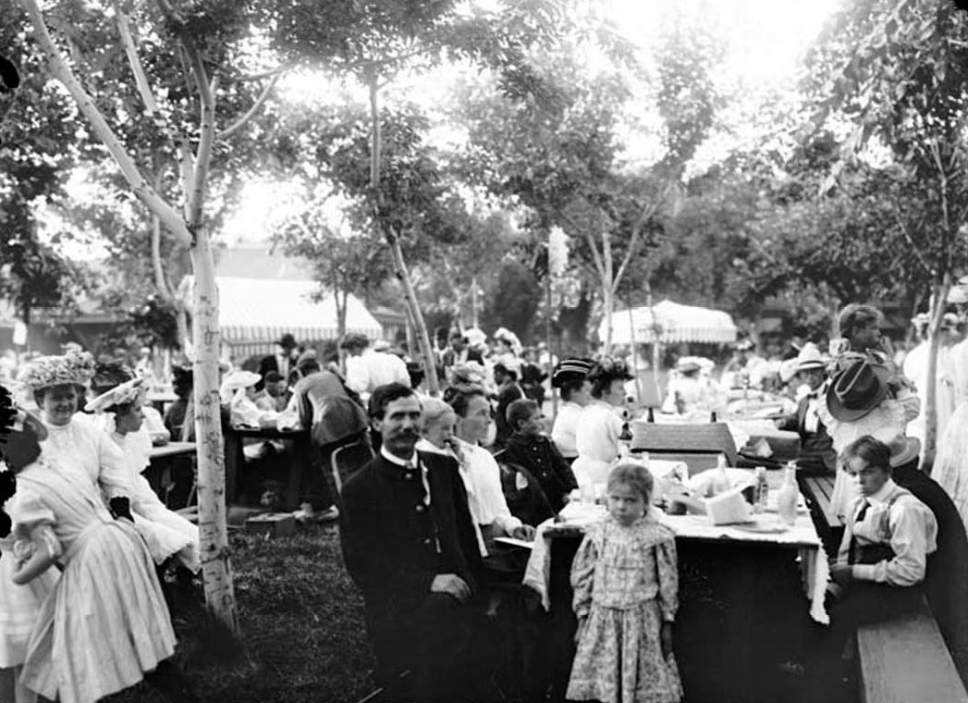 Courtesy  |  Utah State Historical Society  A group eats at Lagoon Amusement Park in Farmington. August 1, 1907.