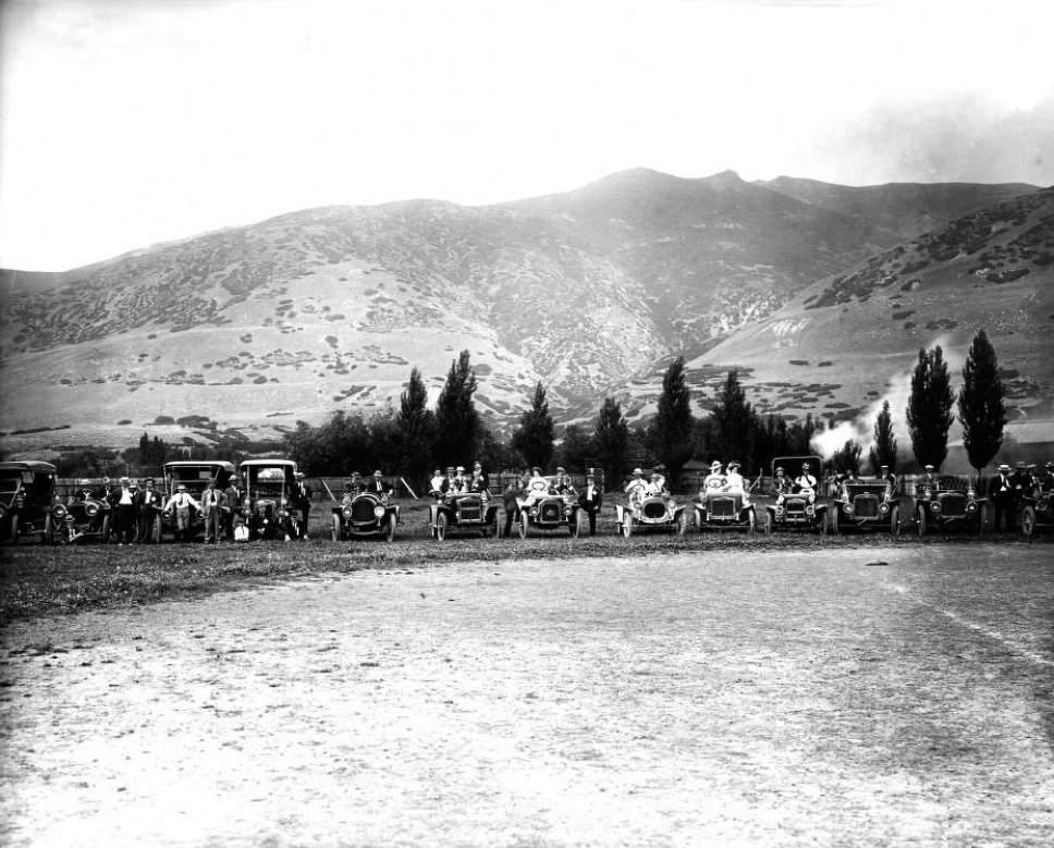 Courtesy  |  Utah State Historical Society  An automobile club meeting at Lagoon Amusement Park in Farmington. July 9, 1908.