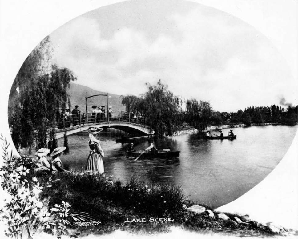 Courtesy  |  Utah State Historical Society  The lake at Lagoon Park in Farmington. Date unknown.