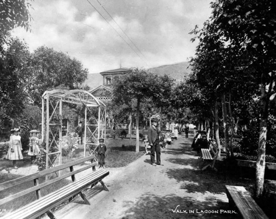Courtesy  |  Utah State Historical Society  A walk through Lagoon Park in Farmington. Date unknown.
