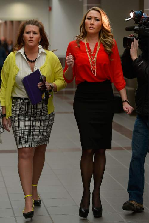 Leah Hogsten     The Salt Lake Tribune Brianne Altice heads into the courtroom for a preliminary hearing in Judge John R. Morris' 2nd District Court, Thursday January 15, 2015.  Altice, was taken into custody and is headed to trial with 10 felony counts for alleged sexual relationships with three teens: five counts of first-degree felony rape, two counts of first-degree felony forcible sodomy and three counts of second-degree felony forcible sexual abuse in connection with allegedly having sex with the three male students.