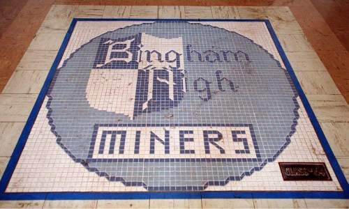 Tile work inside the front door at the old Bingham High School Building.     Miller/photo