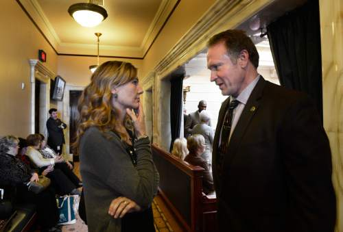 Scott Sommerdorf   |  The Salt Lake Tribune Medical Marijuana lobbyist Christine Stenquist speaks with Senator Mark Madsen, R-Saratoga Springs, in the Utah Senate, Thursday, February 19, 2015.
