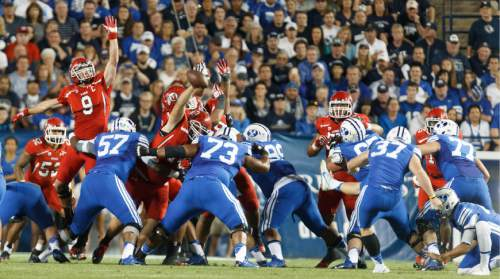 Trent Nelson  |  The Salt Lake Tribune Brigham Young Cougars kicker Justin Sorensen's field goal attempt is ruled no good in the second quarter as the BYU Cougars host the Utah Utes, college football Saturday, September 21, 2013 at LaVell Edwards Stadium in Provo.