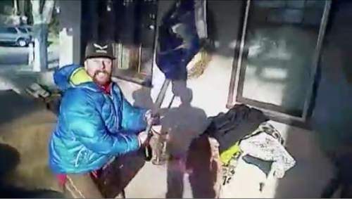 Image from the body camera footage of the confrontation with James Dudley Barker.