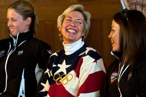 Photo by Chris Detrick | The Salt Lake Tribune  Women's Ski Jumping-USA President Deedee Corradini laughs with Lindsey Van, 26, and Alissa Johnson, 23, during a press conference at the Utah Olympics Sports Park Wednesday April 6, 2011.  The International Olympic Committee approved women's ski jumping and five other sports for 2014, when the Winter Games will be held in Sochi, Russia.