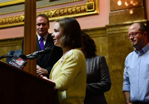 Scott Sommerdorf   |  The Salt Lake Tribune Sixteen year-old Maddy Campbell speaks at a press conference after Senator Madsen's bill, SB259 - Medical Cannabis Amendments - passed out of committee, Thursday, February 26, 2015. Campbell's sister recently died from the same disease she has. Campbell has found that medical marijuana has lessened the negative affects of chemotherapy.