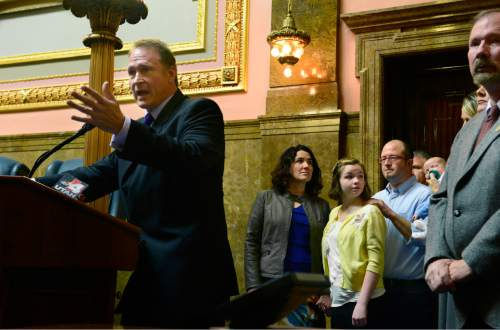 Scott Sommerdorf   |  The Salt Lake Tribune Senator Mark Madsen, R-Salt Lake, speaks about his bill, SB259 - Medical Cannabis Amendments - in a press conference after it passed out of committee, Thursday, February 26, 2015.