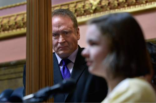 Scott Sommerdorf   |  The Salt Lake Tribune Senator Mark Madsen, R-Salt Lake reacts with some emotion as he listens to sixteen year old Maddy Campbell speak about how she was helped by medical marijuana. Senator Madsen's bill, SB259 - Medical Cannabis Amendments - passed out of committee by a 3-2 vote, Thursday, February 26, 2015.