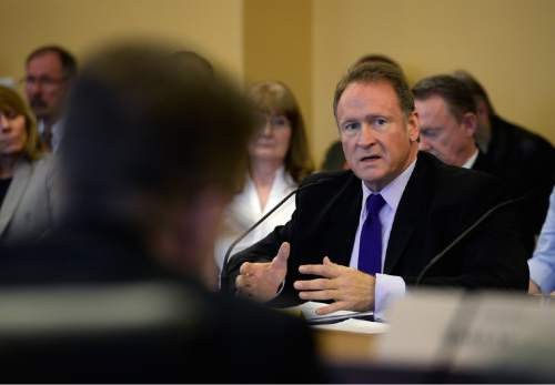 Scott Sommerdorf   |  The Salt Lake Tribune Senator Madsen, R-Salt Lake, presents his bill, SB259 - Medical Cannabis Amendments - in committee, Thursday, February 26, 2015. The bill passed 3-2.