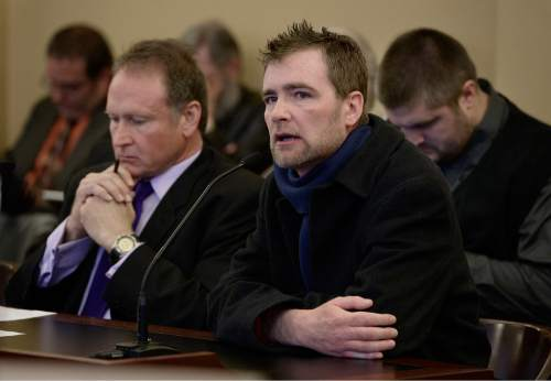 Scott Sommerdorf   |  The Salt Lake Tribune Forrest Shaw speaks in favor of Senator Mark Madsen's bill, SB259 - Medical Cannabis Amendments - prior to it passing out of committee, Thursday, February 26, 2015. Shaw said that he found that medical marijuana has allowed some peace and sleep as he deals with the progression of his terminal prostate cancer.