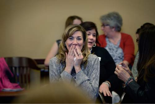 Scott Sommerdorf   |  The Salt Lake Tribune Christine Stenquist reacts with delight as Sen. Mark Madsen's bill, SB259 - Medical Cannabis Amendments - passed out of committee by a 3-2 vote, Thursday, February 26, 2015. Stenquist suffers from an inoperable brain tumor, and has found that medical cannabis has helped her condition.