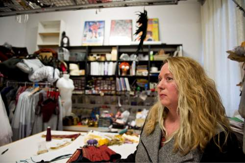 Lennie Mahler  |  The Salt Lake Tribune  Jen McGrew, owner/proprietor of McGrew Studios, photographed in the backshop of her costume store on Pierpont Avenue, Friday, Feb. 27, 2015. The Eccles Browning Warehouse, a long-time home to small artisan businesses, was sold in January to an out-of-state residential developer. McGrew is one of many tenants likely to be displaced by the change in ownership.