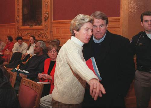 Tribune file photo  Salt Lake City Mayor Deedee Corradini and her husband John Huebner speak before a City Council meeting in 1999.
