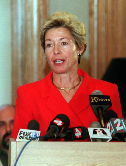 Tribune file photo  Salt Lake City Mayor Deedee Corradini announces she will not run for reelection during a press conference in 1999.