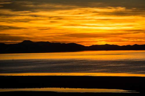 Chris Detrick  |  The Salt Lake Tribune Sunset over the Great Salt Lake as seen from Antelope Island Tuesday February 17, 2015.