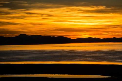 Chris Detrick  |  The Salt Lake Tribune Sunset over the Great Salt Lake as seen from Antelope Island Tuesday February 17, 2015.