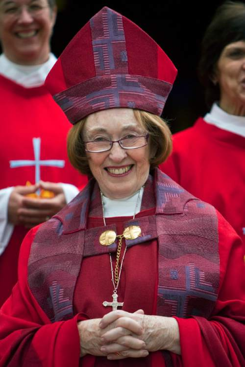 Tribune file photo |  The Right Reverend Carolyn Tanner Irish, Tenth Bishop of Utah, after the Ordination of Deacons service at the Cathedral Church of Saint Mark on Saturday, June 12, 2010.