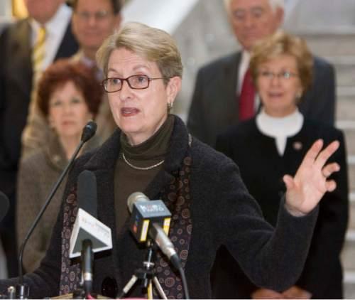 Tribune file photo   Former state legislator and congresswoman Karen Shepherd  joined  15 other former state lawmakers in the Utah Capitol rotunda to support legislative ethics reform on Nov. 24, 2009.