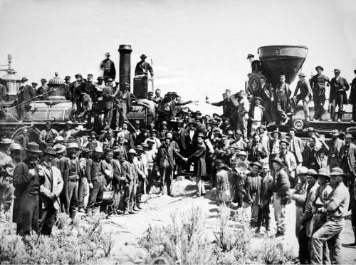 Courtesy Utah State Historical Society The transcontinental railroad was completed at Promontory Summit in 1869.