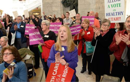 Al Hartmann  |  The Salt Lake Tribune  The Utah Health Policy Project, hundreds of citizens and advocates of the governor's plan to expand Medicaid, Healthy Utah rally at noon Thursday March 5 inside the capitol rotunda.