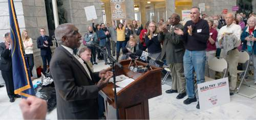 Al Hartmann  |  The Salt Lake Tribune  Rev. Franz Joseph speaks at he Utah Health Policy Project, where hundreds of citizens and advocates of the governor's plan to expand Medicaid, Healthy Utah rally at noon Thursday March 5 inside the capitol rotunda.