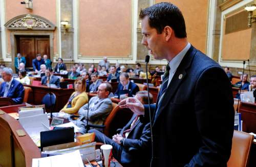 """Francisco Kjolseth     The Salt Lake Tribune  Representative Jacob Anderegg, R-Lehi, says """"please stop wasting our time, committee already killed Healthy Utah"""" as the Democrats substitute to replace Utah Cares with Healthy Utah bill on Friday, March 6, 2015. The motion failed and in the end the House passed its version of Medicaid expansion on a 55-19 vote."""
