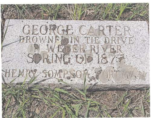 Courtesy     Utah Stream Access Coalition  This tombstone near Oakley marks the grave of a Utah pioneer who drown on an 1877 log drive down the Weber River.