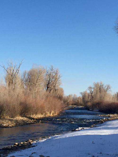 """Courtesy     Michael Cornu  This stretch of the Weber River, where it crosses private land near Oakley, is the subject of a lawsuit brought by recreation interests who say the stream bed is state land because this river was once """"a highway of commerce"""" Utah pioneers used to float timber down."""